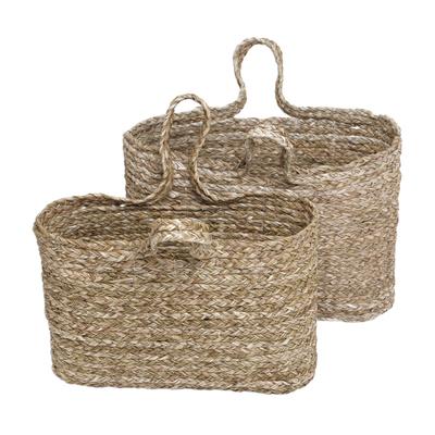 Hand Woven Panadanus Leaf Tote Bags or Baskets (Pair)