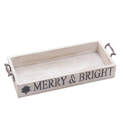 Inspirational Wood Decorative Tray with Handles from Java