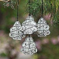 Recycled newspaper ornaments, 'New Life Trees' (set of 4) - Recycled Newspaper Tree-Shaped Holiday Ornaments (Set of 4)