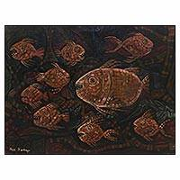 'Twilight Piranhas' - Signed Modern Piranha Painting from Indonesia