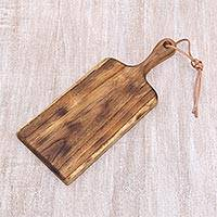 Teakwood cutting board, 'Brunch Party' - Natural Teakwood 16 Inch Cutting Board Handcrafted in Java
