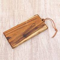 Teakwood cutting board, 'Evening Chop' - Handmade Javanese Teakwood Cutting Board Leather Cord
