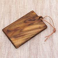 Teakwood cutting board, 'Morning Chop' - Artisan Crafted Natural Teakwood Cutting Board 11-Inch