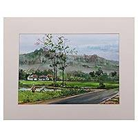 'Java Sceneries' - Impressionist Watercolor Landscape Painting from Indonesia