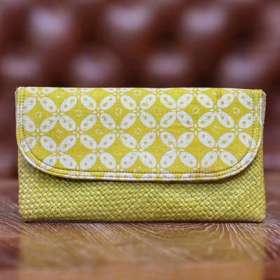 Natural fiber and cotton clutch, 'Truntum Dreams' - Hand Woven Lontar Leaf and Cotton Yellow Clutch Bag