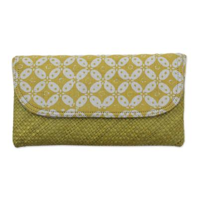 Hand Woven Lontar Leaf and Cotton Yellow Clutch Bag
