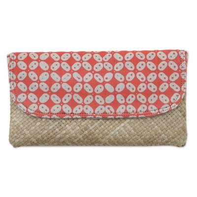Red and White Truntum Batik Lontar Leaf and Cotton Clutch