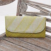 Lontar leaf and cotton batik clutch, 'Royal Parang' - Yellow White Batik Parang Lontar Leaf and Cotton Clutch
