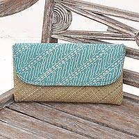 Natural fiber and cotton clutch, 'Parang Dreams' - Hand Woven Lontar Leaf and Cotton Turquoise Clutch Bag
