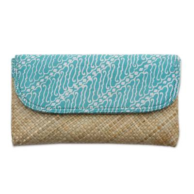 Hand Woven Lontar Leaf and Cotton Turquoise Clutch Bag