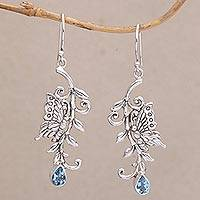 Blue topaz dangle earrings, 'Beloved Butterfly' - Blue Topaz and Sterling Silver Butterfly Dangle Earrings