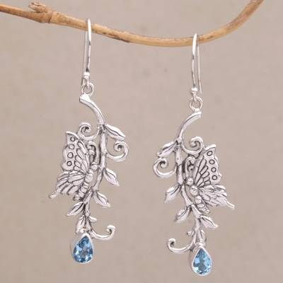 Blue topaz dangle earrings, Beloved Butterfly