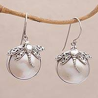 Cultured pearl dangle earrings, 'Moonlit Dragonfly' - Cultured Mabe Pearl and Sterling Silver Dangle Earrings