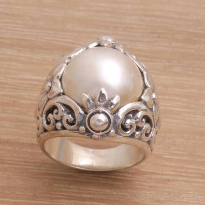Cultured Mabe Pearl and Sterling Silver Lotus Cocktail Ring