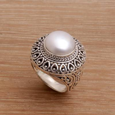 Cultured pearl cocktail ring, 'Temple of Hope' - Cultured Mabe Pearl and Sterling Silver Cocktail Ring