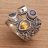 Multi-gemstone cocktail ring, 'Temple Quarter' - Multi-Gemstone and Sterling Silver Cocktail Ring from Bali