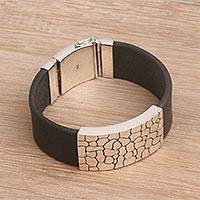 Men's leather and sterling silver wristband bracelet, 'Cobblestone Way' - Men's Modern Leather and Sterling Silver Wristband Bracelet