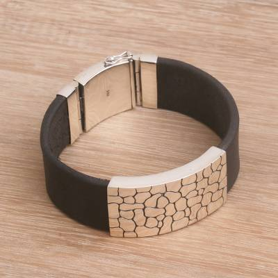 Mens leather and sterling silver wristband bracelet, Cobblestone Way