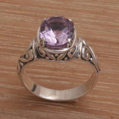 925 Sterling Silver Faceted Amethyst Cocktail Ring
