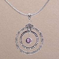 Amethyst pendant necklace, 'Happy Sensation' - 925 Sterling Silver Amethyst Round Pendant Necklace