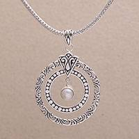 Cultured pearl pendant necklace, 'Happy Sensation' - 925 Sterling Silver Cultured Freshwater Pearl Necklace