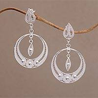Sterling silver filigree dangle earrings, 'Ethereal Moon' - Filigree Sterling Silver Dangle Earrings Handmade in Java