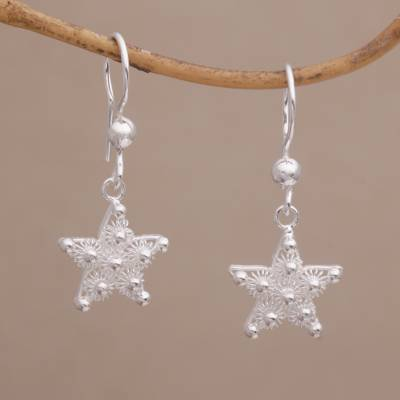 Sterling silver filigree dangle earrings, 'Enchanting Star' - Javanese Filigree Sterling Silver Star Dangle Earrings