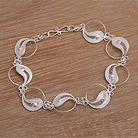 Sterling silver filigree link bracelet, 'Eternal Balance' - Filigree Sterling Silver Link Bracelet from Indonesia