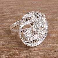 Sterling silver filigree cocktail ring, 'Precious Paisley' - Filigree Sterling Silver Cocktail Ring from Indonesia