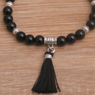 Onyx and cat's eye beaded stretch bracelet, 'Peaceful Balance' - Onyx and Cat's Eye Beaded Stretch Peace Charm Bracelet