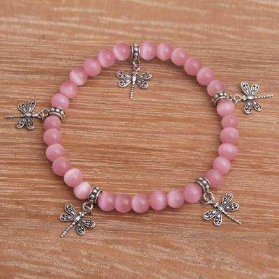 Cat's eye beaded stretch charm bracelet, 'Dragonfly Blush' - Cat's Eye Beaded Stretch Bracelet with Dragonfly Charms