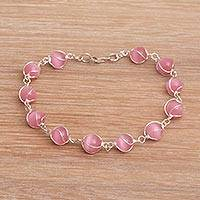 Cat's eye beaded bracelet, 'Linked Petals' - Pink Cat's Eye and Sterling Silver Linked Bracelet
