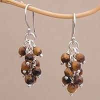 Tiger's eye cluster earrings, 'Natural Shores' - Tiger's Eye and Sterling Silver Cluster Earrings from Bali