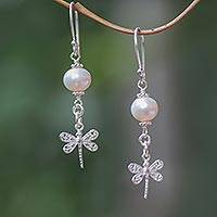 Cultured pearl dangle earrings, 'To the Light' - Balinese Cultured Freshwater Pearl Dragonfly Dangle Earrings