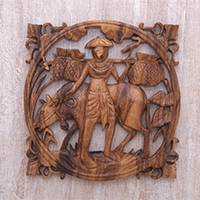 Wood relief panel, 'Farmer and Calf' - Hand Carved Suar Wood Farmer and Calf Wall Relief Panel