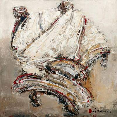 'The Dancing Monk' (2011) - Signed Expressionist Painting of a Monk (2011) from Bali
