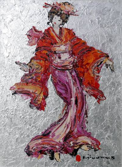 'Geisha Dance II' (2017) - Expressionist Painting of a Japanese Geisha (2017) from Bali