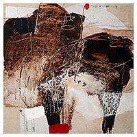 'Animal Abstract II' (2014) - Signed Abstract Painting in Brown (2014) from Bali