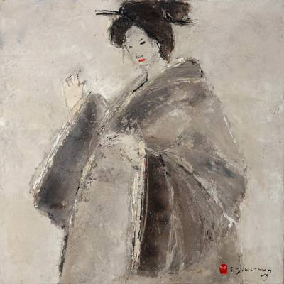 'Smiles and Sights II' (2009) - Balinese Expressionist Painting of a Japanese Lady (2009)