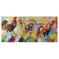 'Three Fighters' (2015) - Expressionist Painting of Three Roosters (2015) from Bali