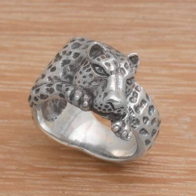 Sterling silver cocktail ring, 'Leopard Grip' - 925 Sterling Silver Leopard Cocktail Ring from Indonesia