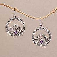 Amethyst dangle earrings, 'Garden Crown' - Sterling Silver Circle with Scrollwork and Amethyst Earrings