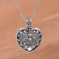 Sterling silver pendant necklace, 'Rangda's Heart' - 925 Sterling Silver Guardian Rangda Heart Pendant Necklace