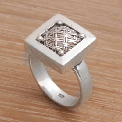 Sterling silver cocktail ring, 'Weaving Ketupats' - 925 Sterling Silver Basket Weave Balinese Cocktail Ring