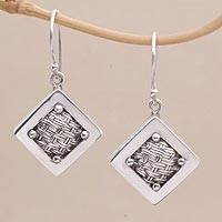 Sterling silver dangle earrings, 'Weaving Ketupats' - Woven Sterling Silver Diamond Shaped Dangle Earrings