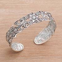 Sterling silver cuff bracelet, 'Forest Rogue' - 925 Sterling Silver Floral Cuff Bracelet from Indonesia
