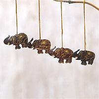 Coconut shell ornaments, 'Imperial Elephants' (set of 4) - Set of 4 Coconut Shell Traditional Elephant Ornaments