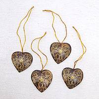 Coconut shell ornaments, 'With Our Hearts' (set of 4) - Set of 4 Handmade Brown Coconut Shell Heart Ornaments