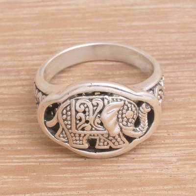 Sterling silver cocktail ring, 'Ceremonial Elephant' - Handcrafted Sterling Silver Elephant Cocktail Ring from Bali