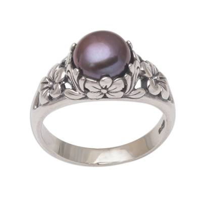 Cultured pearl solitaire ring, 'Eden's Promise in Peacock' - Cultured Freshwater Pearl Sterling Silver Solitaire Ring